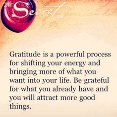 Gratitude is a powerful process for shifting your energy