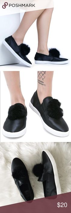 YRU Pom Pom Black Sneakers YRU • size 8/9 sneakers • black pom pom • please read carefully: these are BRAND NEW but sadly mismatched (reflected in price) one is a size 8, one is a size 9 • no box • bundle to save 💰• happy shopping! YRU Shoes Sneakers