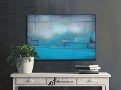 Rustic art work, Teal, aqua blue & gray, Large abstract landscape canvas wall art / Above bed decor, Art Over Couch, Art Over Bed, Artwork Above Bed, Bedroom Artwork, Above Bed Decor, Gray Bedroom, Master Bedroom, Blue And Green, Aqua Blue