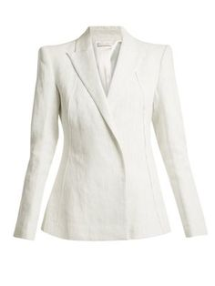 This white Masera blazer is a fusion of Carl Kapp's pared-back approach and sharp tailoring skills. It's crafted from heavyweight tweed, with structured shoulders, peak lapels, and concealed push-stud fastenings at the single-breasted front. Wear it with a silk camisole and the coordinating skirt for a confident, modern mood.
