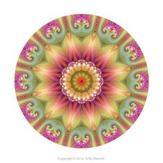 Beauty Mandala Art Print in Pink, Green, and Yellow - Colorful Fractal Kaleidoscope Art