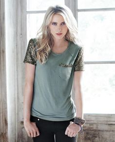 Koko T-shirt. Mint ocean green with bronze and golden sequins and a rolled necklne. Great edgy look with skinny black jeans and hunky jewelry. #fashion #trendy