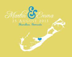 Bermuda Map Wedding Gift Art Print