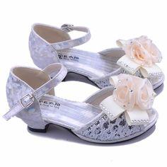 Silver High Heel Flower Girl Girls Pageant Party Dress Sandals Shoes SKU-133431