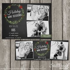 Holiday Mini Session Marketing Board - Christmas Template Set - Facebook Cover Photo - Festive Holiday Promotion Storyboard - TS04