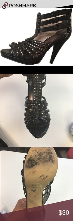 3 inch black sandal heels Worn once.  Wonderful condition. Shoes Heels