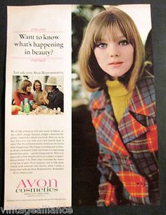 Vintage 1966 Cute Girl in Plaid Coat Wearing Avon Beauty Cosmetics 60's Print Ad