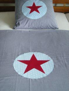 Bettwäsche - Bettwäsche Vichy-Karo blau mit rotem Stern - ein Designerstück von myVichy bei DaWanda