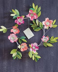 Flower Paper Wreath DIY - with FREE printable downloads
