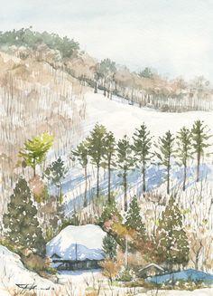 これだけ降ったのだから雪景色。 自宅の周りは時折春のような空気、雪の無い正月にしびれを切らし釜津田に行きました。やはり雪が少なく、山肌はまだら模様、櫃取まで行きましたが、気に入った景色はここだけ、雪が少ないとはいえ圧雪道路、脇見運転は危険です、携帯も
