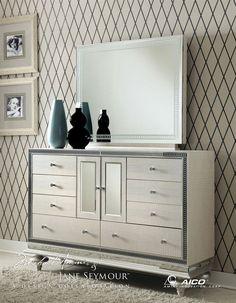 Amazon.com   Hollywood Swank Queen Graphite Bedroom Set By Aico Amini    Bedroom Furniture