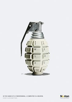"""Clever keypad grenade...""""In the hands of a criminal a computer is a weapon"""" adv / From Leo Burnett."""