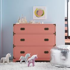 Campaign 3-Drawer Dresser (Coral)  | The Land of Nod