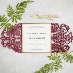 burgundy and gold glitter laser cut invitation cards for fall weddings SWWS018_2