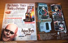 The ADDAMS FAMILY Uncle Fester Electric Shock Machine Original Sales Flyer +1 #TheAddamsFamilyArcadeFlyers