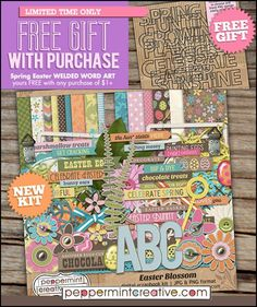 Brand new Spring/Easter Kit plus a great FREE GIFT with purchase from Peppermint Creative. Save 20% on this kit and 35% off all Spring & Easter products only until midnight EST Friday April 6th.