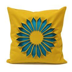 Cushion Indian Rose. Okra - Cyan