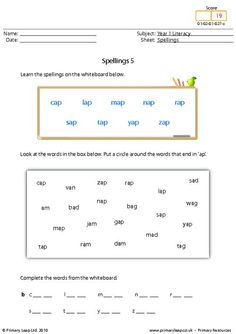 Literacy: Spellings 13   Worksheet   PrimaryLeap.co.uk Year 1 English Worksheets, Free Worksheets For Kids, Spelling Worksheets, Literacy Worksheets, Primary Resources, Progress Report, High Frequency Words, Type I, Teacher