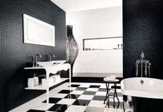 Black and white floor tiles in the bathroom