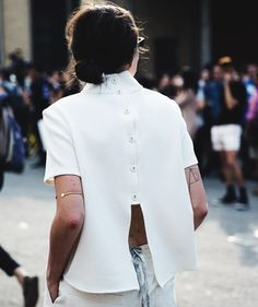 button down/open back top #style #fashion #streetstyle