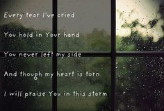 every tear ive cried, You hold in Your hand; You never left my side and though my heart is torn, i will praise You in this storm.