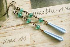 Lizzy.vintage green glass beaded drop earrings. by tiedupmemories, $13.00