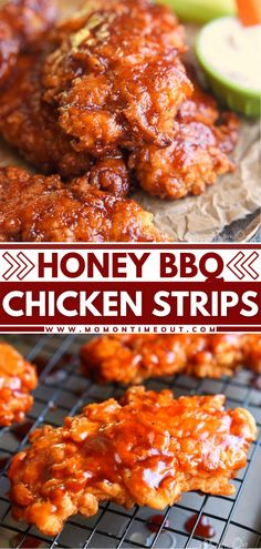 If you love chicken strips, wait until you try this recipe! Marinating them in buttermilk lets them become so tender. Perfectly seasoned and topped with sticky sweet honey bbq glaze, they are impossible to resist! Enjoy this game day food as an appetizer or for dinner! Chicken Strip Recipes, Chicken Strips, Yummy Chicken Recipes, Yum Yum Chicken, Bbq Chicken, Chicken Meals, Chicken Wings, Entree Recipes, Easy Dinner Recipes