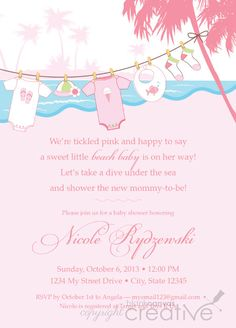 Ocean baby shower invitation beach baby shower invite shell baby this listing is for a beach themed diy baby shower templaterfect for a soon to be beach boy or girl colors and wording can be changed at no extra filmwisefo