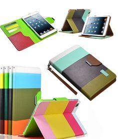 AE Leather Flip Designer Stripe Wallet Case Cover for Apple iPad Mini Inch Coffee Brown Apple Ipad, Ipad Mini, Wallet, Coffee, Brown, Leather, Stuff To Buy, Accessories, Design
