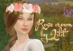 Rose crown by Lilit for TS4 - For teen - elder female - 20 colors - hat Sims 4 CC recolor is OK. But, Don't include my mesh DOWNLOAD
