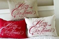 Merry Christmas Pillow Cover 12x16 by larksongcreations on Etsy, $22.00