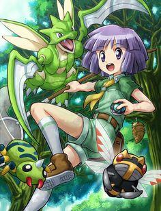 Bugsy with Spinarak, Scyther, Ninjask, and Kakuna by Soara