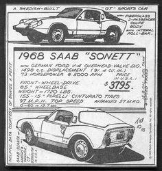 Vintage Saab Print Advertisement For The Saab 1968 Saab Sonett Saab Turbo, Brochures, Catalog