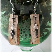 "These birch bark earrings are made from curled birch bark, magnetized hematite, Austrian crystal bead and glass beads. 2.5""x.5"" Under $20! LOOK! More treasures! craftstudio61.etsy.com $18.00"
