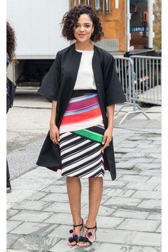 Tessa Thompson in a Mary Katrantzou skirt and coat
