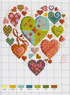 cross stitch . chart . punto croce . schema . pattern . cuore . cuori . all about hearts :)