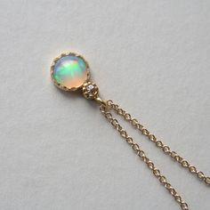 """Dreams taste like cotton candy…"" Opal & Diamond Necklace by ATELIER Gaby Marcos"