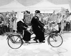 - - - - #art #pencil #drawing #artist #pencildrawing #graphitedrawing #realisticart #realism #blackandwhite #illustration #artistsonpinterest #picoftheday #bnwportraits #portraitdrawing #pencilart #graphite #realisticdrawing #liege #belgium #parade #faith #bicycle #tandem #priest #nun #crowd Pencil Art, Pencil Drawings, Faith, Graphite Drawings, Realistic Drawings, Tandem, Priest, Les Oeuvres, Belgium