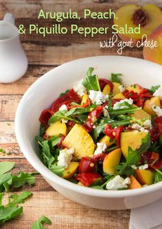 Arugula, Peach & Piquillo Pepper Salad with Goat Cheese — Foraged Dish
