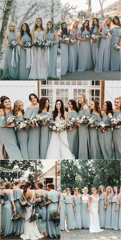 silver sage green bridesmaid dresses wedding color ideas for 2019 #weddings #weddingcolors #weddingideas #blueweddings #weddinginspiration www.deerpearlflow...