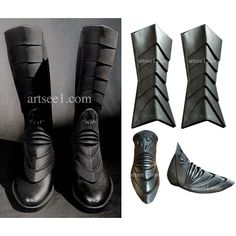 The Dark Hero Armor Latex Boots Spats For Your Home Made Batman... ($105) ❤ liked on Polyvore featuring costumes, batman costume, black costume, latex costumes, latex halloween costumes and batman halloween costumes