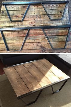 Palette Coffee Table: TOP 69 of the Most Original Ideas in Palette Coffee Tables, Coffe Table, Palette Table, Car Furniture, Industrial Design Furniture, Wood And Metal, Home Decor, Coffee Ideas, Banquette
