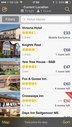 """Expedia hotels app - """"Filters"""" button"""