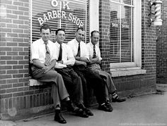 Saltville - OK Barber Shop           FROM LEFT - DAN PUCKETT / ROY YONTZ / JOE VERNON / PETE FRYE     PHOTO COURTESY LORETTA FRYE CALLAWAY AND FRED AND PEGGY CRABTREE. Courtesy of Don Smith