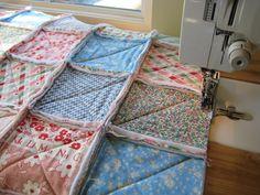 Quilt Tutoriais e Tecido Creations - estofar na Chuva - Rag Quilt