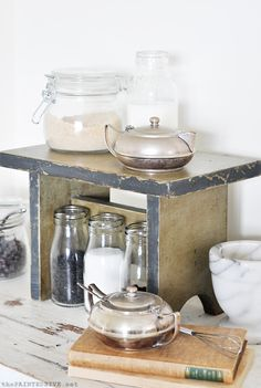 Use a little wooden step stool distressed painted with Annie Sloan Chalk Paint (Chateau Grey, Graphite, clear and dark wax) to make a coffee station