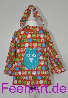 Kinderkapuzenshirt mit türkiser Eule - von vorne - Kapuze aufgesetzt