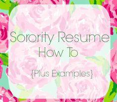 sorority resume how to sweetly sally
