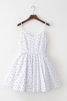Polka Dots White Strap Cute Retro Sundress