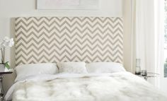 Ziggy Grey & White Zig Zag Headboard Headboards - Furniture by Safavieh